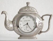 silson electronics flat pewter Lindsay Claire teapot clock