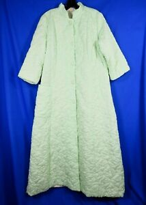SAY-LU Loungewear VINTAGE PALE GREEN QUILTED ROBE Housecoat BUTTON-UP Silky L