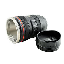BID Stainless Steel Canon Style Camera Lens Tea Coffee Cup Mug Thermos Lined&Lid