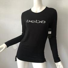 Bebe Logo Animal Print Long Sleeve Tee Top M Black