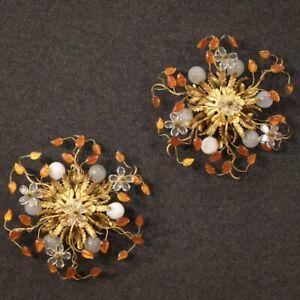 Coppia di Applique Maison Baguès Paris plafoniera lampade vetro metallo dorato