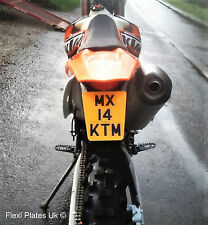 """SMALL TAPERED 5"""" x 4"""" Flexible Motorbike Number Plate Flexi Motorcycle Bike EXC"""