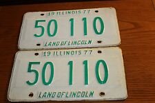Vintage 1977 Illinois Land of Lincoln license plate Set! Front and Rear 50 110