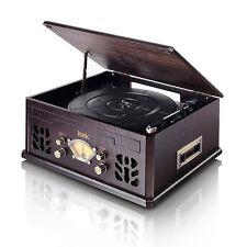 Nostalgia Vinyl Wooden Music System Record CD Radio AM Cassette Player Bluetooth