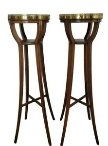 Pair Vintage Mahogany Brass Plant Fern Stands Baker Furniture Free shipping!