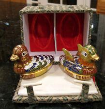 Enameled Cloisonne Trinket Box Ducks with Cobalt Blue Interiors * Very Pretty!
