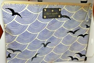 Kate Spade - Blue & White Bird Clutch Cosmetic Bag