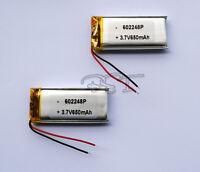 2pcs  3.7V 650 mAh Li-polymer rechargeable Battery Li-Po ion 602248 for GPS mp4