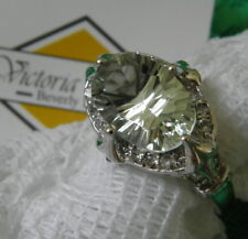 VICTORIA WIECK  Green PRASIOLITE East West Sterling Silver Ring Size 9