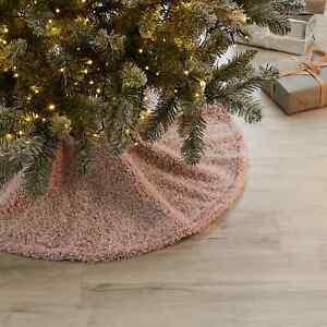 New Funky Look Gorgeous Design Blush Feather Teddy Tree Skirt Tree Decor M-21