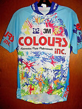 SUPER COLORFUL Cycling Team Zip Front Biking Spinning Jersey Shirt Made in USA