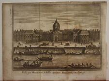 PARIS COLLÈGE DES QUATRE-NATIONS FRANCE 1758 SALMON ANTIQUE COPPER ENGRAVED VIEW