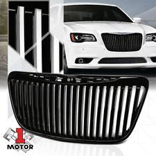 For 2011-2014 Chrysler 300/300C{VERTICAL-BAR}Black ABS Bumper Grille Vent Grill