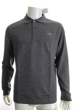 BNWT LACOSTE YH9521 GREY SLIM FIT POLO COTTON SHIRT LONG SLEEVE SIZE 5 L RRP £85