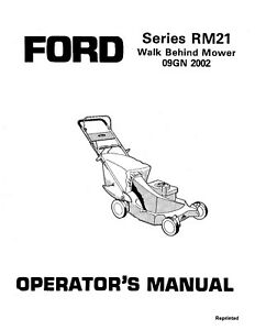 NEW HOLLAND SE4307A Series RM21 Walk Behind Mower for 09GN2002 OPERATORS MANUAL