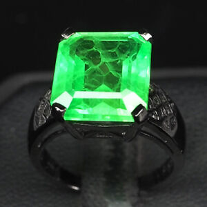EMERALD GREEN OCTAGON 7.20 CT. 925 STERLING SILVER BLACK RING SIZE 6.25 WOMEN