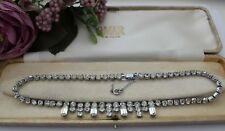 Vintage Necklace With Faceted Stones 50s 60s - Wedding Bridal Prom Ball Cocktail