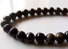 50pcs 6mm Round Natural Gemstone Beads - Golden Sheen Obsidian