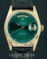 Rolex Men's Day-Date 18238 18K Yellow Gold Rare Green Stick Dial Leather Band