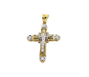 Real 10k Two Tone Yellow & White Gold Crucifix Cross Charm with CZ Stones