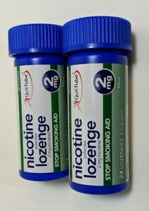 Quit Tube Nicotine Lozenges Lot 2 Tubes 2 mg Stop Smoking Aid Total 48 Lozenges