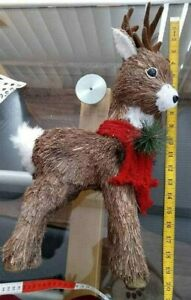 "Christmas Reindeer Red Scarf Big  Antlers 20"" x 9"" Natural Twig Type Fibres"