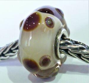 Trollbeads Glas Klar Weiß mit Braune Kreise und 925 Silber Unikat sehr Schön!