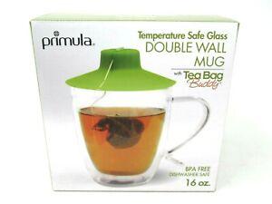 Primula Double Wall Mug with Tea Bag Buddy 16 oz Temperature Safe Glass BPA Free