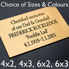 Engraved Plaque For Bench, Memorial, Door Sign in Silver or Brass Effect