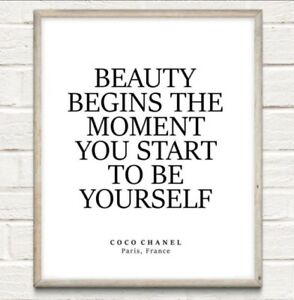 Coco Chanel Beauty Begins Fashion Typography Print Poster Unframed Home Quote
