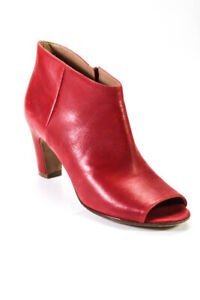 Maison Martin Margiela Womens Leather Open Toe Heeled Zip Up Ankle Boots Red 7