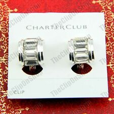 CLIP ON curve CRYSTAL glass EARRINGS silver rhinestone EZ clips huggie half hoop