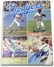 Dodger Infield Autographed Scorecard Magazine Cey Lopes Garvey Russell HOF COA