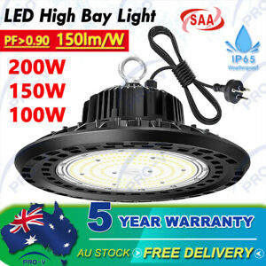 LED High Bay Light 200W 150W 100W UFO Industrial Shed Warehouse Factory Gym Farm