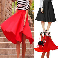 Fashion Women Stretch High Waist Skater Flared Pleated Swing Long Skirt Dress UK
