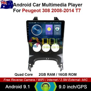 "9"" Android 9.1 Quad Core Car Non DVD GPS For Peugeot 308 2008-2014 T7"