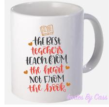TEACH FROM THE HEART TEACHER MUG GIFT CERAMIC MUG COFFEE BIRTHDAY SCHOOL GIFT
