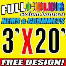 Custom Banner 16oz Vinyl /Flex Outdoor 3' X 20' FT Personalized Advertise Signs