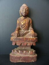 ANTIQUE WOODEN BUDDHA STATUE WITH GOLD TRACES – MYANMAR (BURMA) – EARLY 20th C.