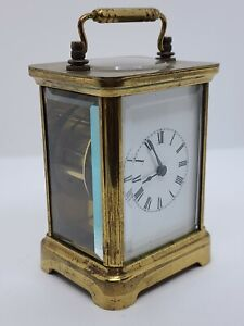 Antique Working 1891 Waterbury Victorian Brass & Beveled Glass Carriage Clock