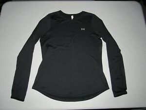UNDER ARMOUR WOMEN'S COLD GEAR BLACK LONG SLEEVE FITTED ATHLETIC SHIRT SIZE L
