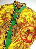 GIANNI VERSACE VINTAGE '92 100% SILK PRINTED SHIRT MEN BAROQUE SUN KING GOLD