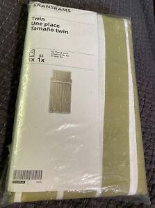 NEW! IKEA KRANSRAMS Twin Duvet Cover with Pillow Sham White/Green Striped Set