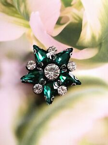 Star Beaded Patch Applique DIY Rhinestone Sew On Embroidery Crystal Green 1pcs