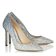 Jimmy Choo Romy 100 Silver and Dusk Blue Glitter Pointy Toe Pumps - US 8 - EU 38
