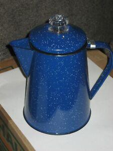 "Vintage  Enamelware Speckled Blue Coffee Pot Cowboy Camp Kettle 9"" plus 2.5"" lid"