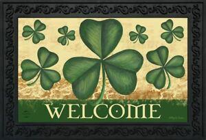 """Shamrock Welcome St. Patrick's Day Doormat indoor Outdoor 18"""" x 30"""" Briarwood"""