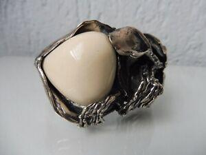 Très Beau, vieux Bracelet, 925 Argent, Avec Blanc Pierre, 88,4 Gramme