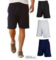 Mens Knee Length Shorts Cotton Jersey Jogger Sweat Shorts Size S  M  L  XL 2XL