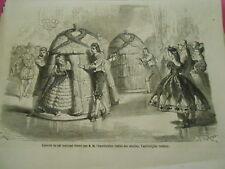 Gravure 1863 - Bal costumé donné par l'impératrice le Bal des Abeilles